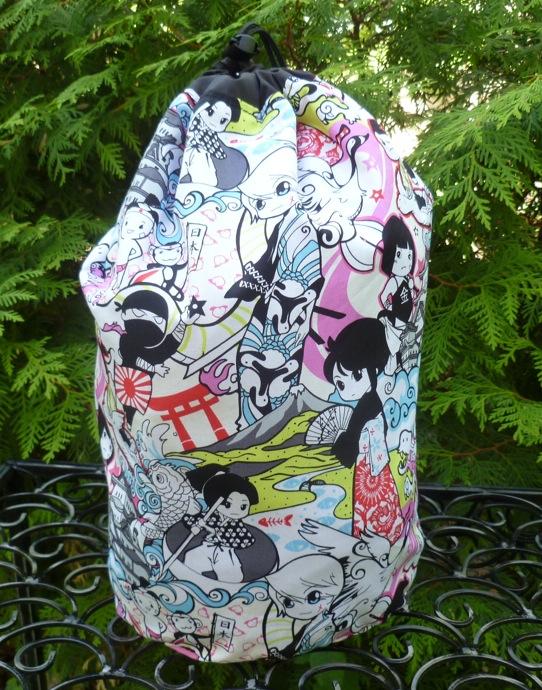 Large Suebee simple drawstring knitting bag