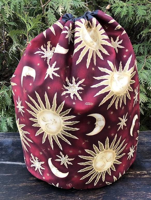 Alpaca large drawstring bag for knitting, storage or travel