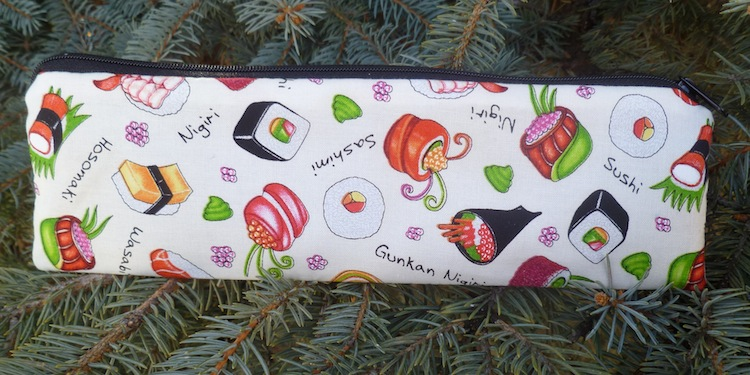 Sleek zippered bag for chopsticks, knitting needles, and crochet hooks