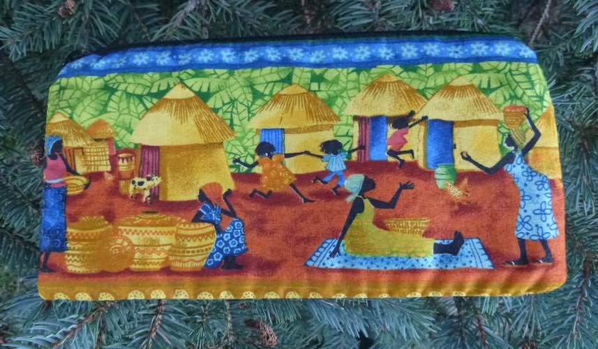 African Village zippered bag