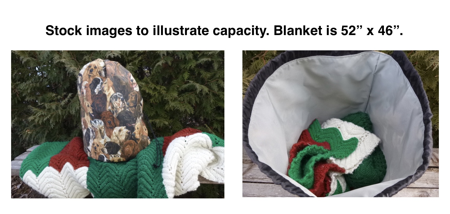 large knitting or crochet project bag for blankets or afghans