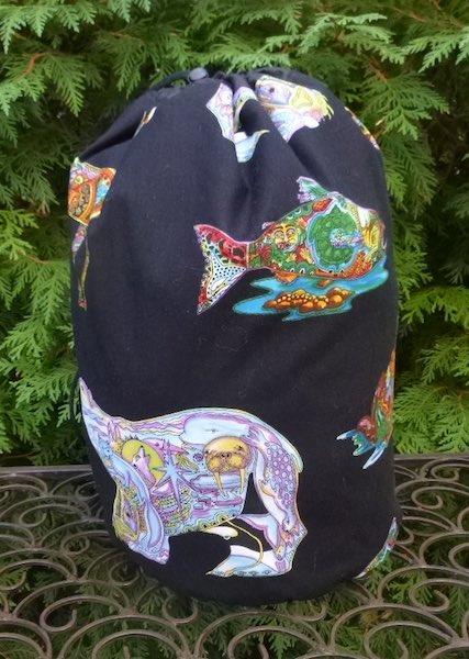 Spirit animals large knitting project bag