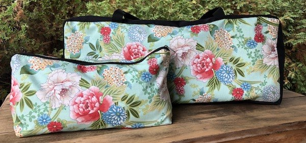 Japanese flowers zippered tote for mahjong rack and bag for mahong tiles