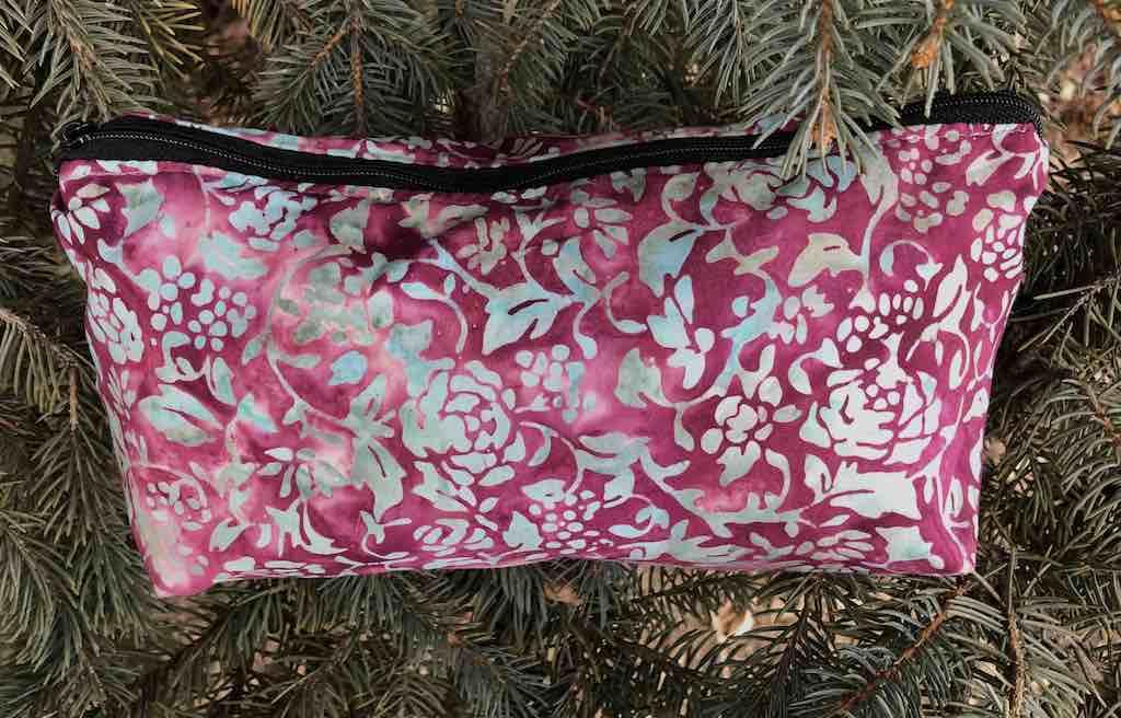 Batik flat bottom bag for knitting supplies makeup