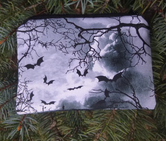 bats in black and white coin purse