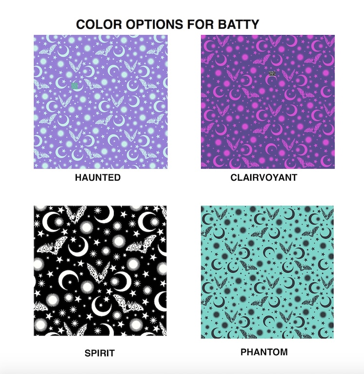 bats and moons color options for zippered makeup bag
