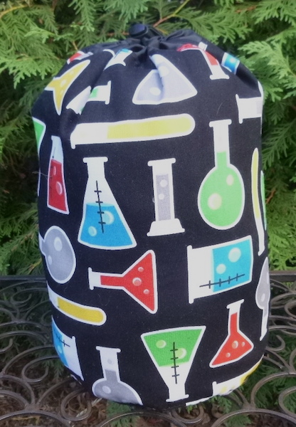 science beakers knitting bag