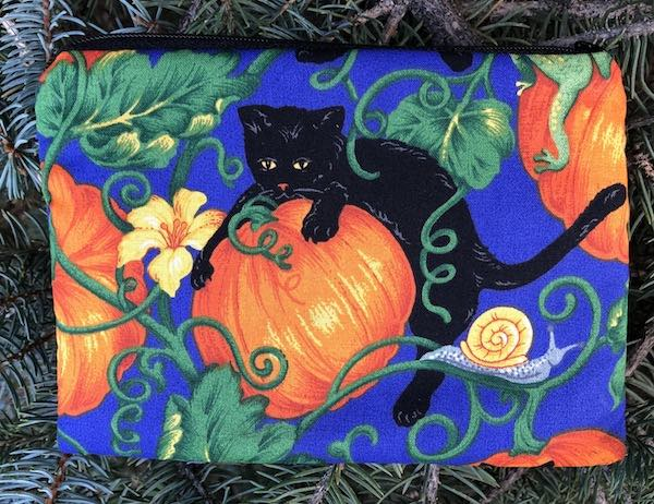 black cats and pumpkins small zippered pouch