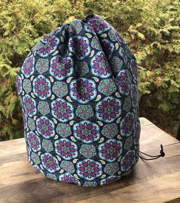 Large drawstring bag for knitting or crochet projects like blankets and afghans