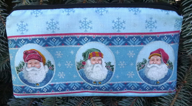 Santa faces pencil case zip bag
