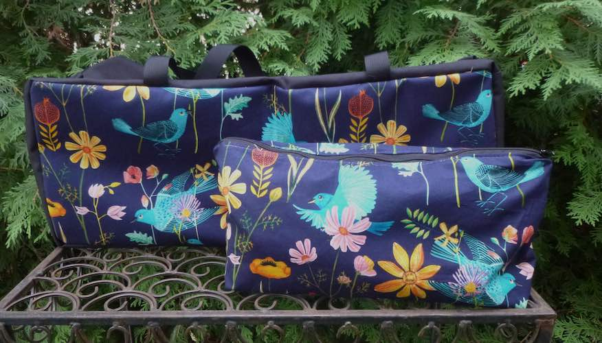 Blue birds and flowers soft sided tote for mahjong racks and bag for tiles
