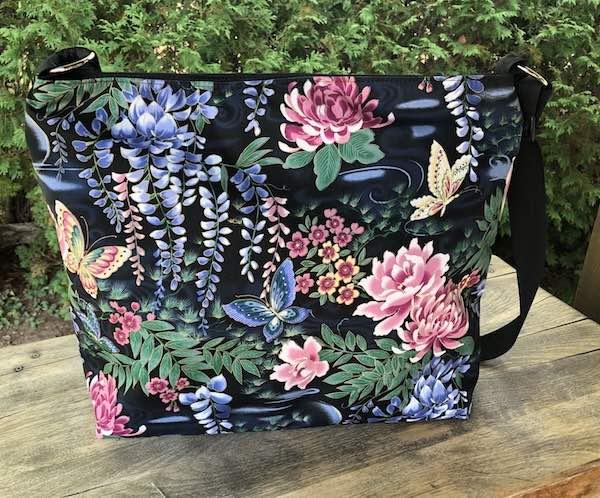 Japanese Butterflies and Wisteria, Britta large zippered cross body purse