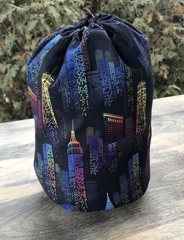 City lights drawstring bag for knitting, crochet projects