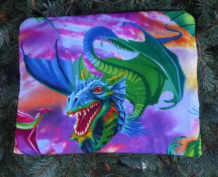 colorful dragons jumbo pencil case or makeup bag