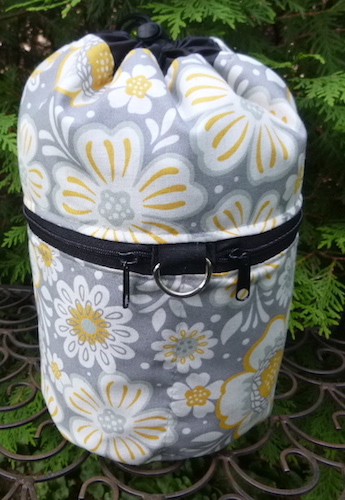 gray and yellow knitting project bag