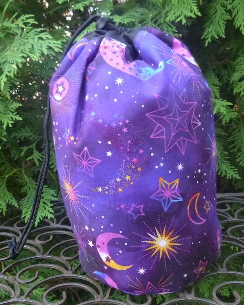 moon and stars drawstring bag for knitting crochet majhong tiles scrabble rummikub tiles