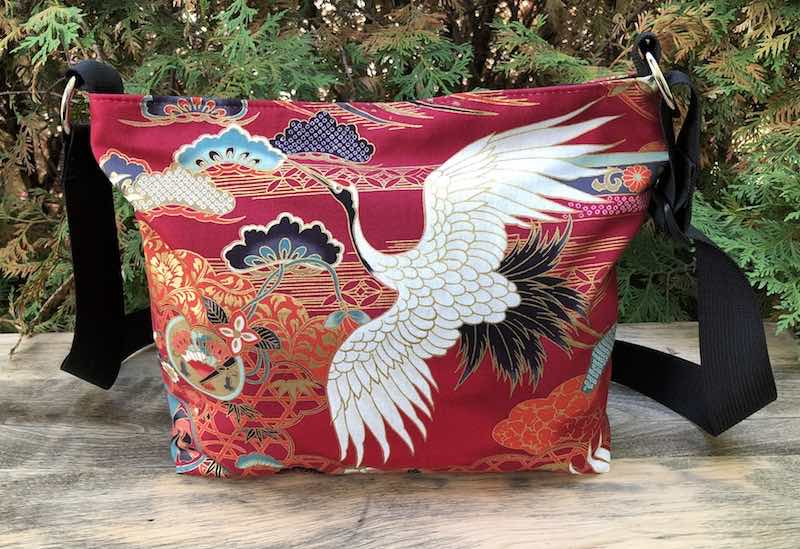 Japanese crane zippered purse