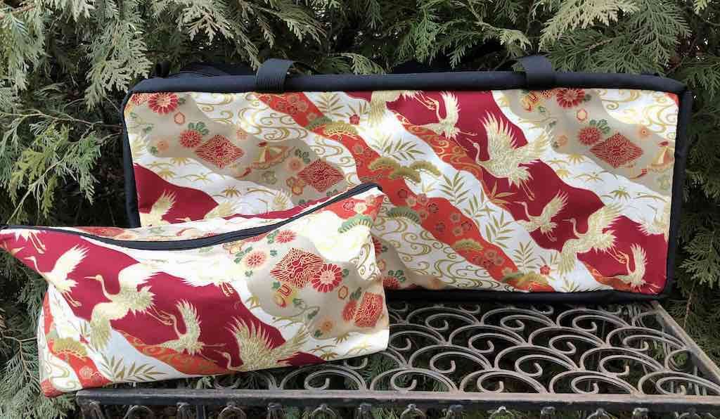Japanese cranes on red mahjong storage soft sided tote for racks pushers and bag for tiles