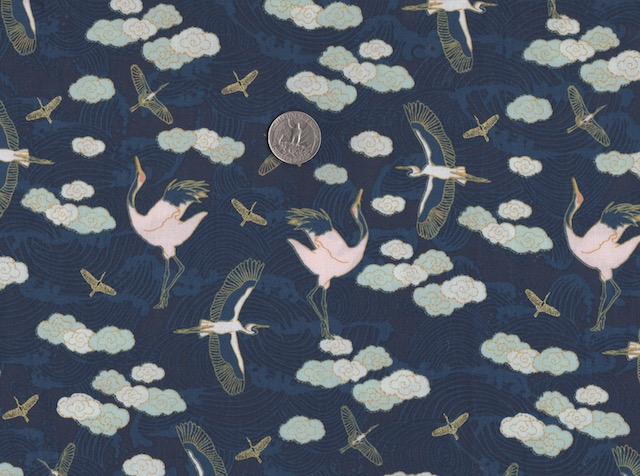 Japanese cranes on navy fabric for mahjong tote and tile set