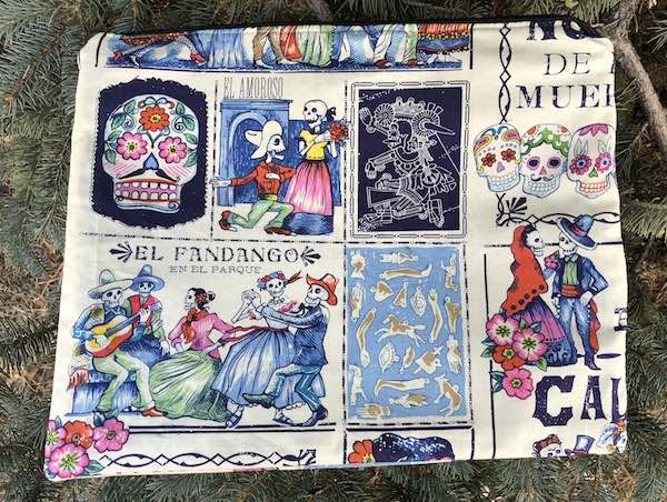 Day of the Dead large zippered case for documents, crafts or travel