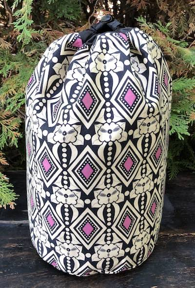 Large drawstring bag for knitting projects