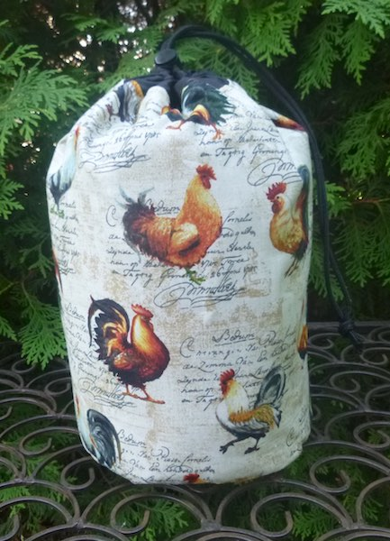French roosters drawstring bag knitting rummikub scrabble