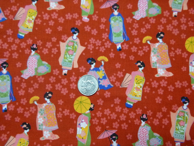 Geisha on red mahjong racks and tile bags