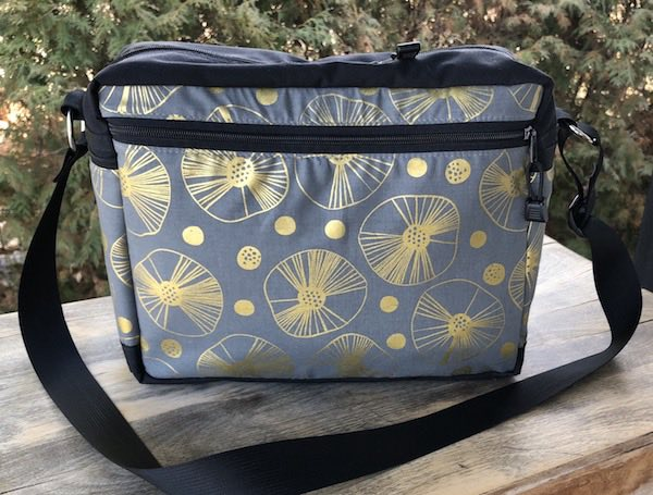 Grey and gold travel bag