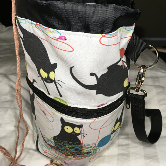 knitting project bag with cats