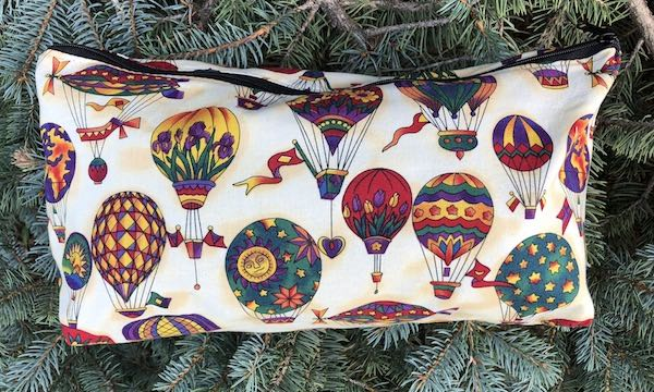 Hot air balloons flat bottom bag mahjong tiles knitting projects craft supplies toiletries