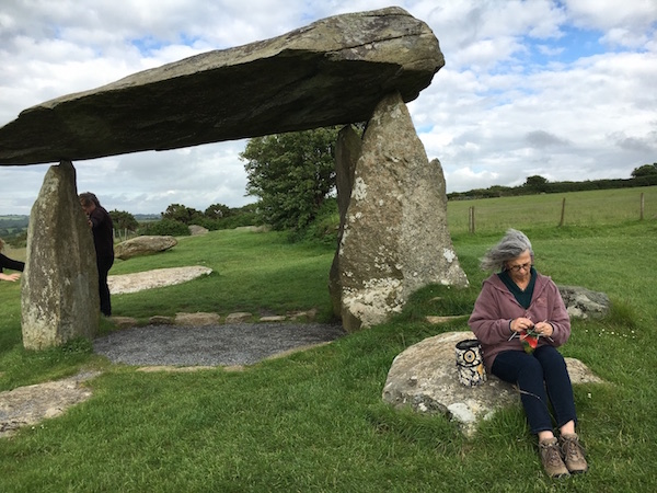 knitting at Pentre Ifan stone burial site (3500 BCE) in Wales