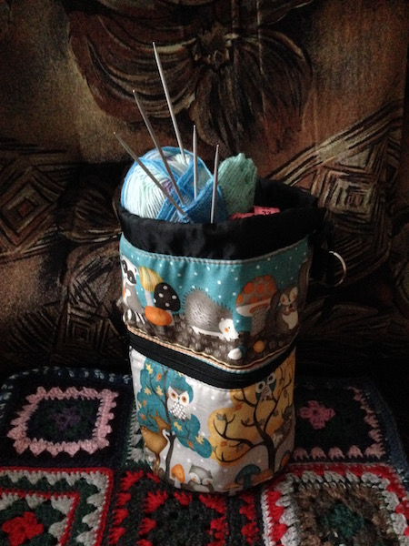 owl knitting bag