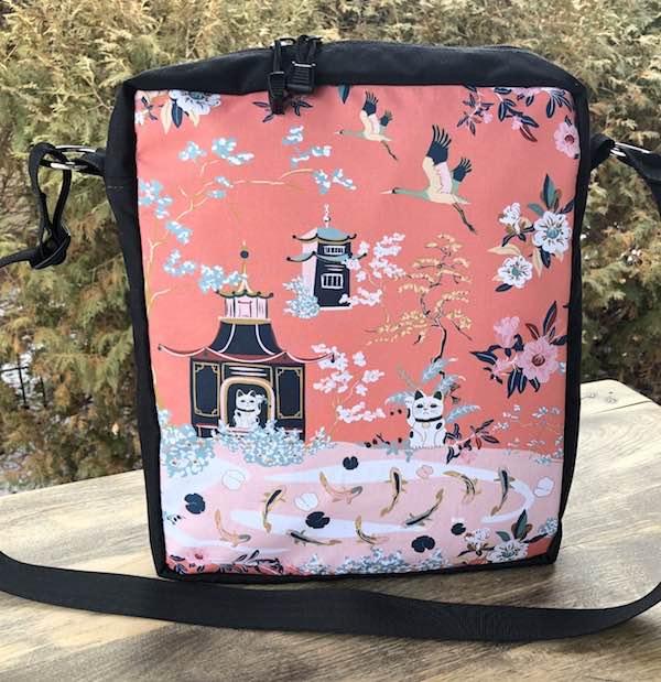 Japanese garden zippered crossbody bag