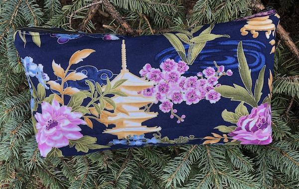 Japanese scenes flat bottom bag for mahjong tiles