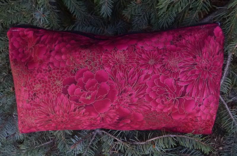Red Japanese flowers flat bottom zippered bag for mahong tiles