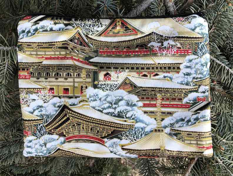 Japanese temples pouch for mahjong card and coins