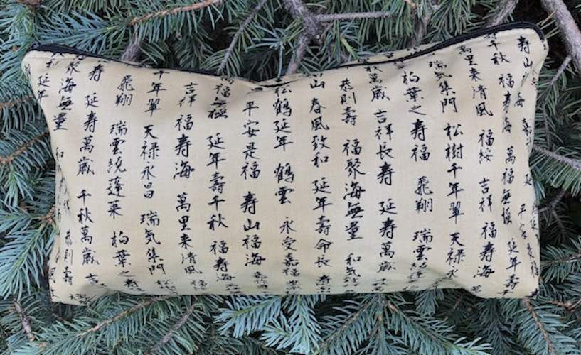 Kanji on Tan Large Zini Flat Bottom Bag