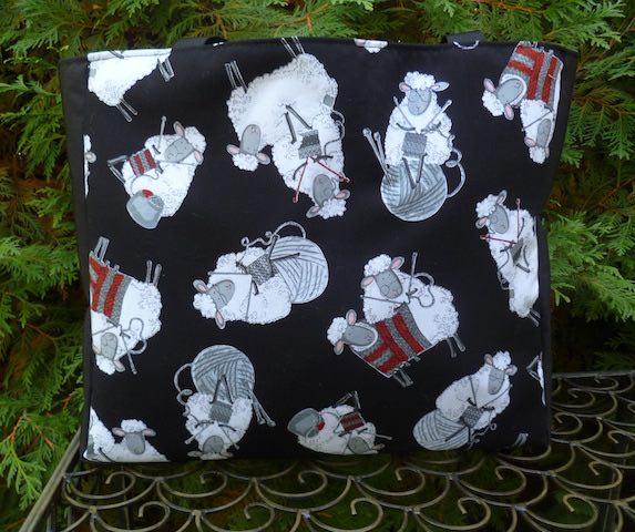 knitting sheep tote bag