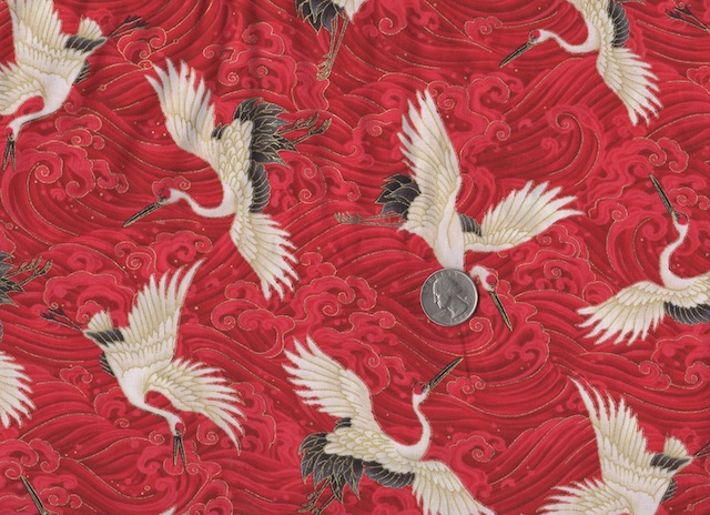 Japanese cranes on red fabric for mahjong tote and tile set