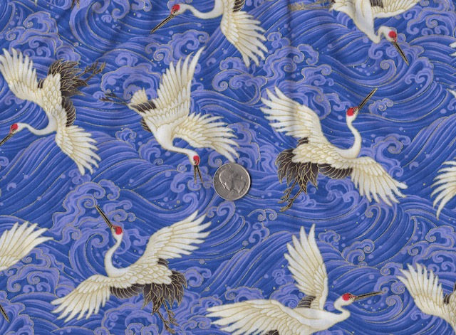 Japanese cranes on blue fabric for mahjong tote and tile set