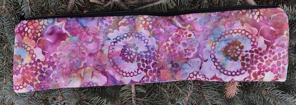 "Pink batik long pouch for 14"" knitting needles"