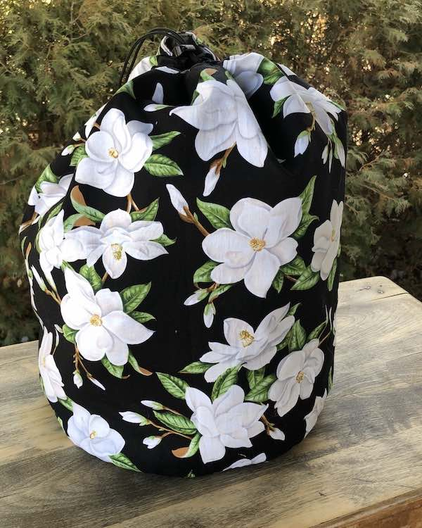 Magnolias large drawstring bag for knitting or crochet projects, blankets, afghans