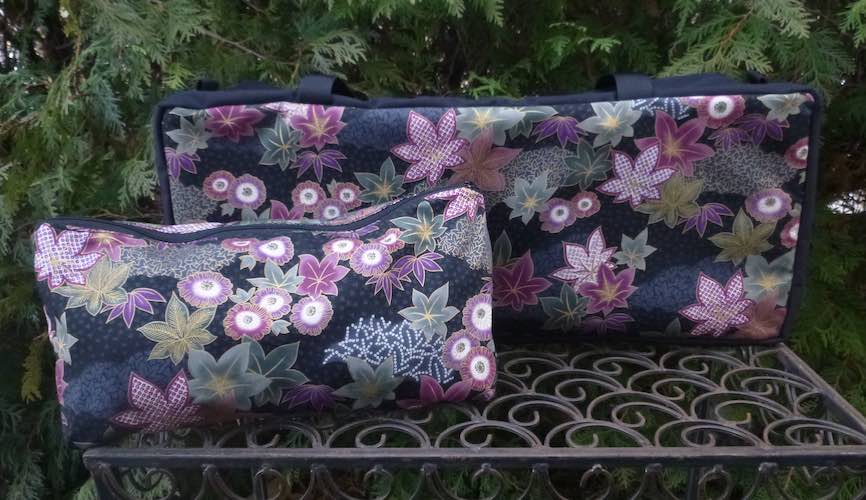 Japanese maple leaves zippered soft sided tote bag for mahjong racks pushers and tiles Zoe's Bag Boutique