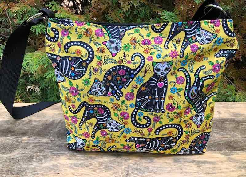 Day of the Dead cats zippered purse