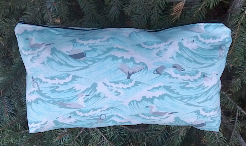 Tula pink Sea Debris ocean flat bottom bag of mahjong tiles makeup toiletries art supplies knitting