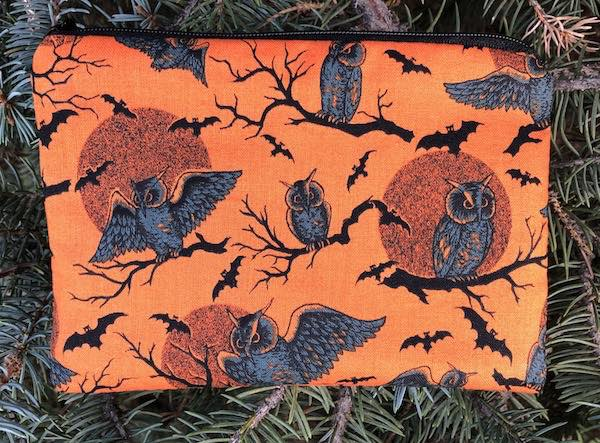 owls and moons small zippered pouch for deck of cards