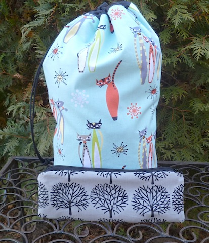 custom made knitting bag and pencil case