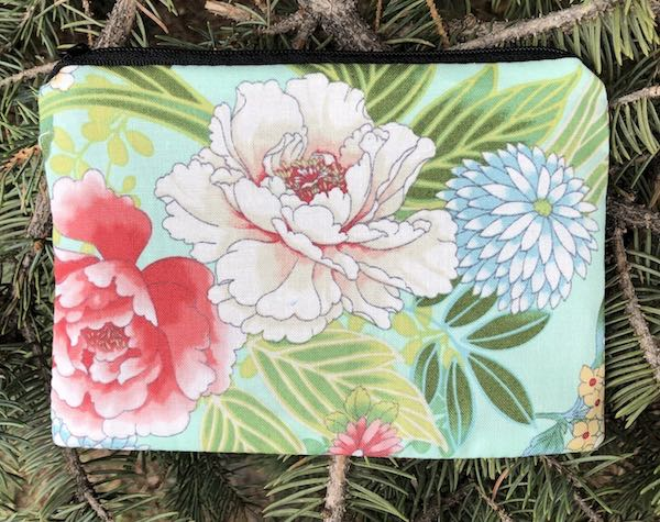 Japanese peonies zippered bag for playing cards