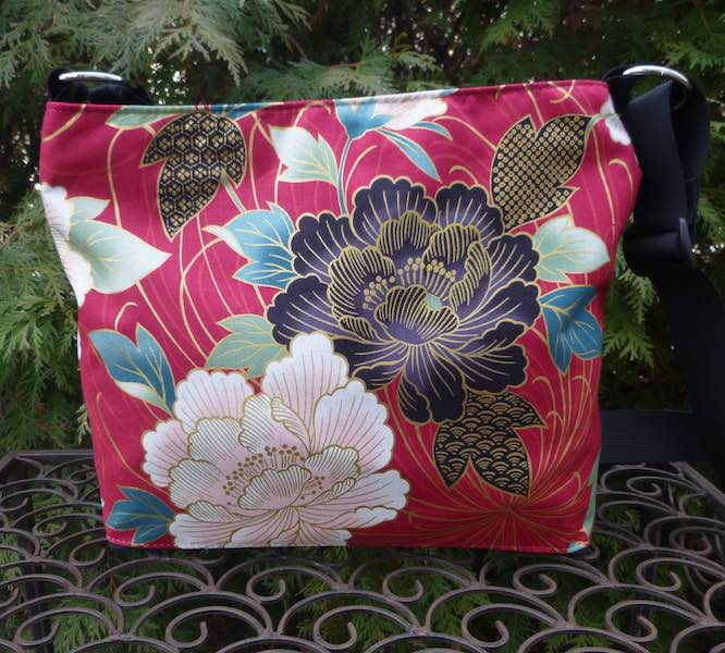 Japanese Peonies zippered purse with crossbody strap