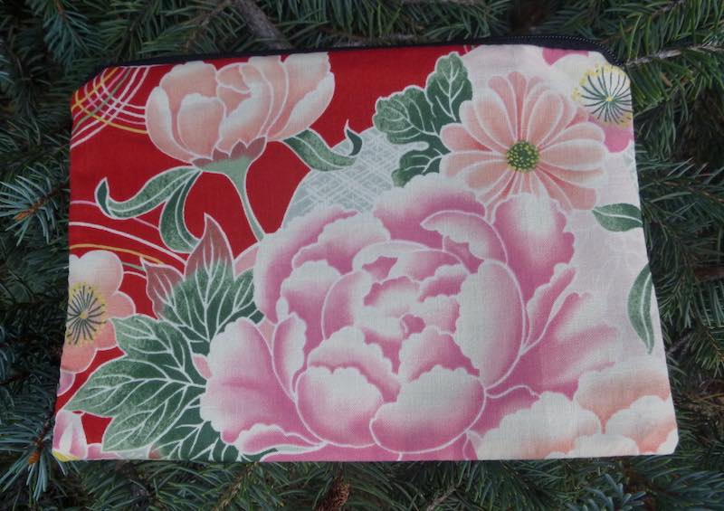 Japanese peony pouch for phone chargers